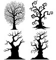 scary tree silhouettes on the white background vector image