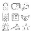 Security and safety sketched icons set vector image vector image