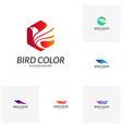 set of bird logo flying bird logo design vector image vector image