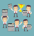 set of cartoon accountant with calculator vector image vector image