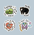 set of cartoon stickers patches or pins vector image vector image