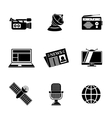 Set of media icons - news radio tv internet vector image vector image