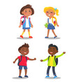 set of schoolchildren first year pupil with bags vector image