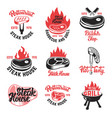 Set of steak house butchery shop emblems with