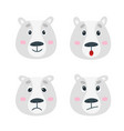 set with polar bear emotion faces cute vector image vector image