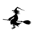 silhouette halloween smiling wicked witch vector image