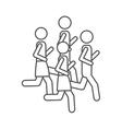 silhouette pictogram men jogging in marathon vector image vector image