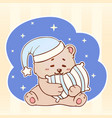sleeping bear with pillow sweet dreams cute kawaii vector image vector image
