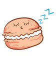 sleeping macaron on white background vector image
