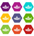submarine nautical icons set 9 vector image vector image