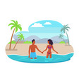 suntanned couples hold hands and stand in sea vector image