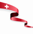 swiss flag wavy abstract background vector image