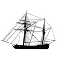 tall sailing ship silhouette vector image vector image