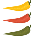 three chili peppers vector image vector image