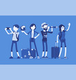 travelers group with luggage vector image vector image