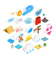 water things icons set isometric style vector image vector image