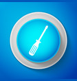 white screwdriver icon isolated on blue background vector image vector image