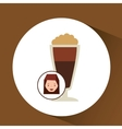 woman cute cup coffee fresh graphic vector image