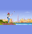woman tourist with backpack taking selfie photo vector image vector image