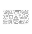 work from home concept with line icons vector image vector image