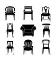 armchair chair set retro silhouette furniture sign vector image