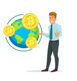business concept with businessman and bitcoin vector image