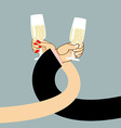 Man and woman drink wine Mens hand and a glass of vector image