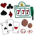 drawn colorful icons of gambling games vector image