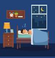 colorful scene man sleep with blanket in bedroom vector image