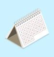 3d isometric flat concept calendar vector image