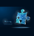 abstract puzzle on dark blue background low poly vector image vector image