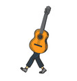 acoustic guitar walks on its feet color sketch vector image