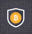 bitcoin golden coin with shield in security vector image vector image