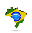 brazil map and flag icon symbol vector image