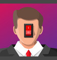 businessman with power switch in head vector image