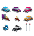 Cars Motorcycles and traffic signs set isometric vector image