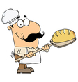 Caucasian Cartoon Bread Baker Man vector image