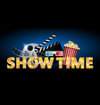 cinema concept showtime banner poster design vector image