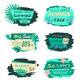 collection discount emblems off summer sale advert vector image vector image