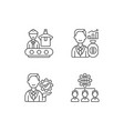 company hierarchical structure linear icons set vector image vector image