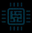 cpu circuit mosaic icon of halftone circles vector image