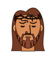 face jesus christ with crown thorns catholic vector image vector image