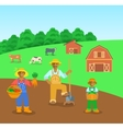 Farming black family in farm field flat background vector image vector image
