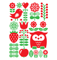 Finnish inspired folk art pattern - Scandinavian vector image vector image