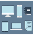 flat design office elements and computer tablet vector image vector image