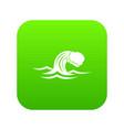 foamy wave icon digital green vector image vector image