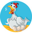 funny hen laying eggs cartoon vector image