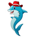 funny shark cartoon wearing a hat vector image