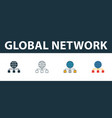global network icon set four simple symbols in vector image vector image
