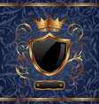 Golden vintage heraldic elements crown shield vector image vector image